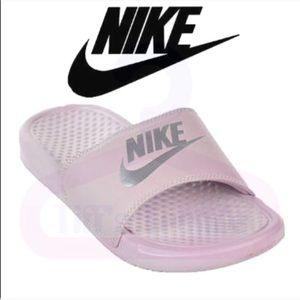 Nike Benassi JDI Swoosh Slides in Particle Rose